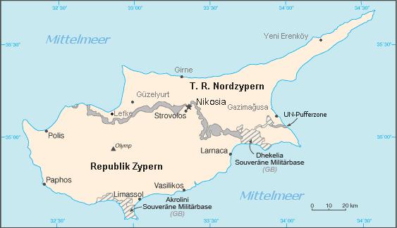Landkarte Zypern