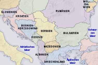 Landkarte Westbalkan