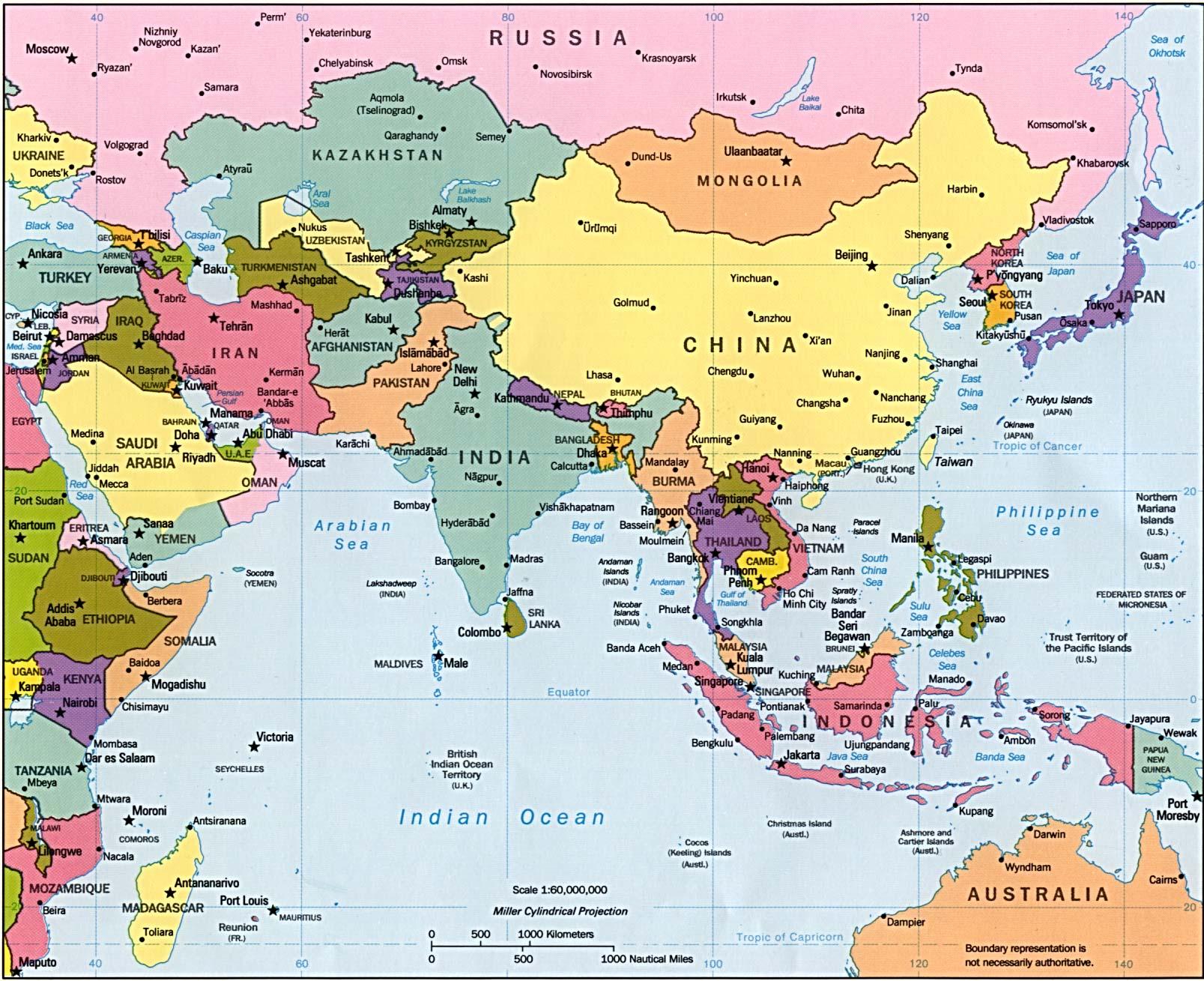 Landkarte Asien