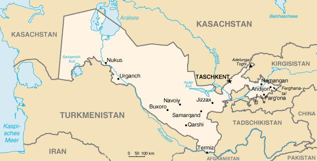 Landkarte Usbekistan